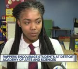 The RapGame Rappers encourage students at Detroit Academy of Arts and Sciences